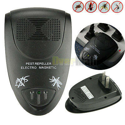Ultrasonic Electric Indoor Anti Mosquito Rat Mice Pest Bug Control Repeller Blac