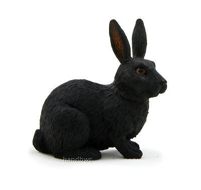 Mojo Fun 387029 Black Rabbit - Realistic Model Toy Hare Pet Bunny Animal - NIP