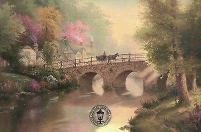 Hometown Bridge - Painter of Light Art Card - Thomas Kinkade Dealer Postcard