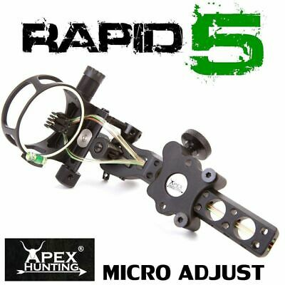 Rapid 5 Ultimate Compound Bow Sight - Black -Micro And Tool Less Adjust- Archery