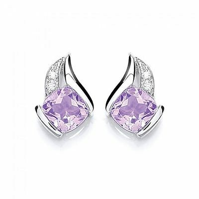 Purity Sterling Silver Clear and Amethyst Stone Set Earrings P1378ES-2