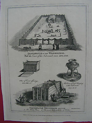 JUDAICA  TABERNACLE IN THE WILDERNESS  original Kupferstich 1814