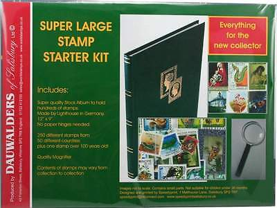 Super Large Stamp Collecting Starter Kit with stockbook album and 250 stamps