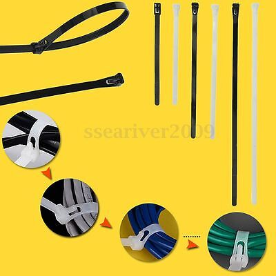 100x Nylon Releasable Reuse Cable Fixed Fasten Zip Clip Wraps Ratchet Ties Wire