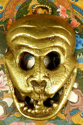 Tibetan Bronze Citipati Mahakala Skull Thogchag Mask Protection From Evil