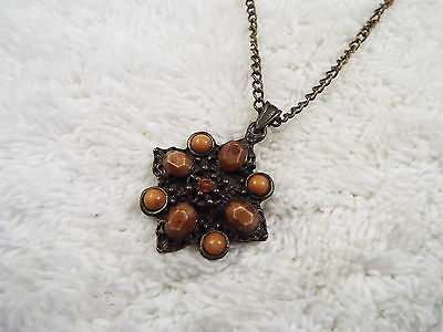 Brasstone Brown Cabochon Pendant Necklace (A36)