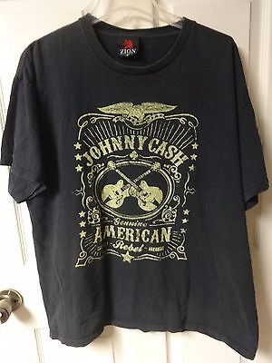 Vintage Johnny Cash - American Rebel Band Rock T-Shirt Men XL by Zion Rootswear