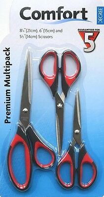 Set of 3 Craft Scissors Comfort Decree Sewing/Dressmakers
