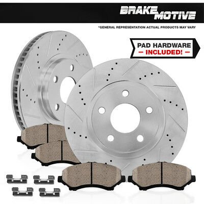 FRONT DRILLED AND SLOTTED BRAKE ROTORS & CERAMIC PADS 1997 - 2004 Ford F150 4WD