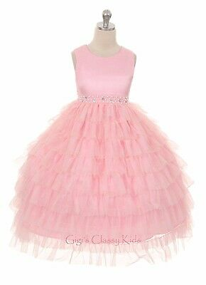 New Pink Flower Girls Princess Dress Prom Wedding Party Pageant Bridesmaid 8050