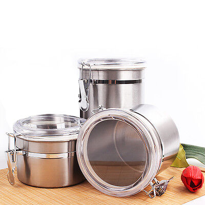 Stainless Steel Airtight Sealed Canister Tea Coffee Nut Flour Sugar Container
