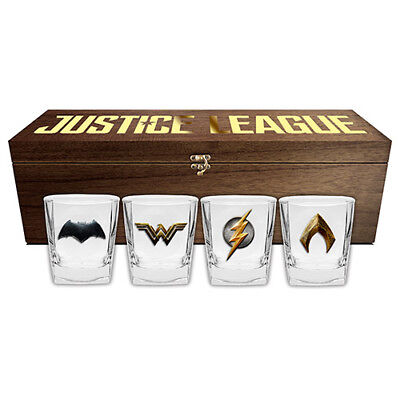 Justice League Movie Set of 4 Spirit Glasses in Collector Wooden Box Xmas