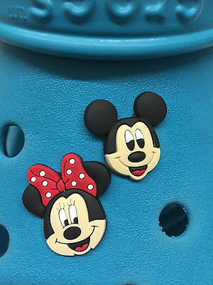 2 Mickey Mouse & Minnie Shoe Charms For Crocs & Jibbitz Wristbands. Free UK P&P.