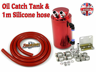Universal Red Alloy Oil Catch Can/tank Kit Project Track Car + Silicone Hose Ot