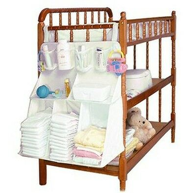 Kid Baby cream crib bed cot hanging accessory bag multi function storage bag