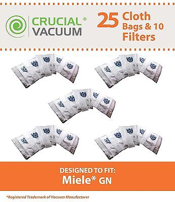 25 Miele Deluxe Vacuum Cloth GN Bags & 10 Filters S400i-S456i S600-S658 S800S858