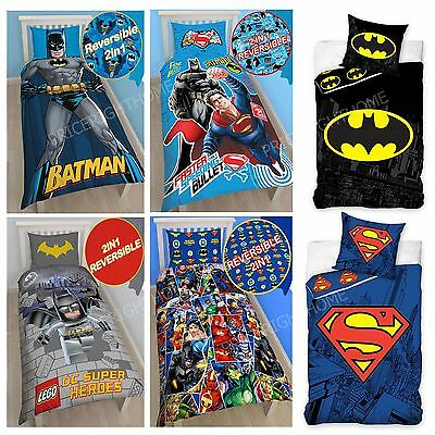 Dc Comics Batman & Superman Duvet Cover And Pillowcase Sets Bedroom Bedding Kids