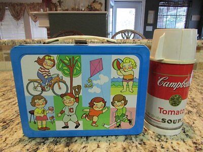 Vintage Nice Very Rare 1973 Campbell's Kids Metal Lunchbox & Thermos