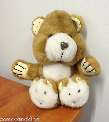 Vintage Brown Teddy Bear With Bear Faces On His Feet Soft Toy Tebro