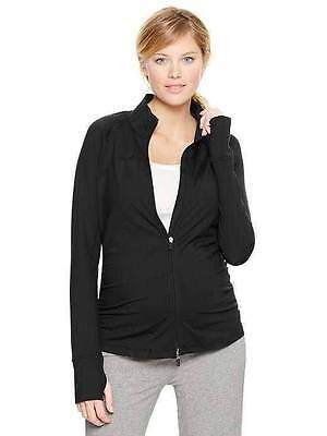 New Gap Maternity GapFit Fit Black Track Zip Work Out Exercise Jacket Yoga Large