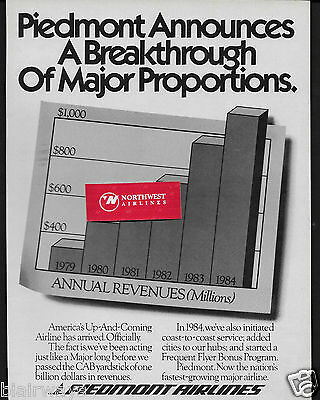 Piedmont Airlines 1985 The Up And Coming Airline Becomes Major Airline Ad