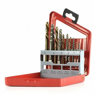 New 10pc Screw Extractor Left Hand Cobalt Drill Bit Set Easy Out Broken Bolt