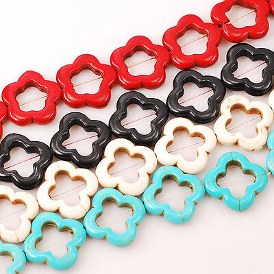 """20x20x4mm Magnesite Turquoise Star Flower Beads 15"""" Pick your color"""