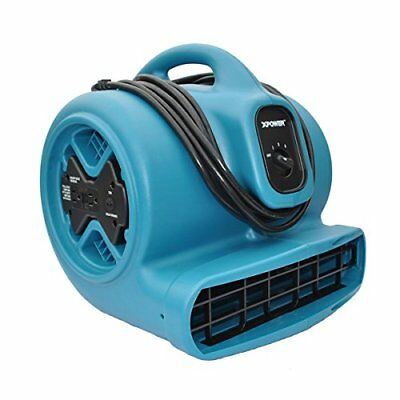 XPOWER X-600A 1/3 HP 3.8 Amp 2400 CFM 3 Speed Air Mover with GFCI Outlets