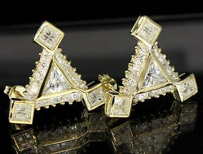 XL TriAngle Iced Out AAA Quality Cubic Zirconia Bling Push Back 24mm Earrings