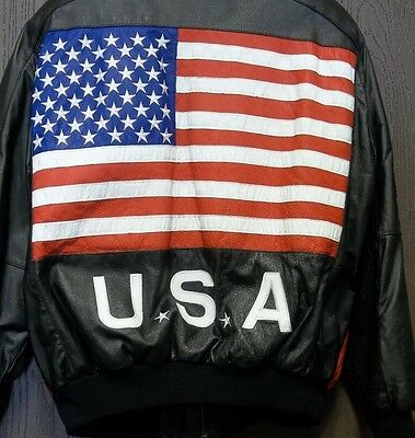 Two Plus Two Button Zip Up Leather Jacket USA Flag Vintage Size XL Rare