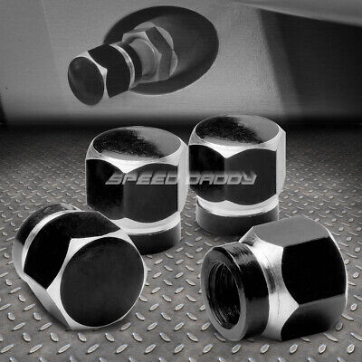 4X Aluminum Hexagonal Tire/Rim Valve/Wheel Air Port Dust Cover Stem Caps Black