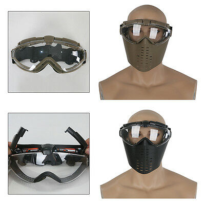 Tactical Airsoft Full Face Mask Safety with fan Paintball Goggles Protection CS