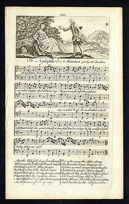 Rare Antique Print-YE NYMPHS & SWAINS-OLD ENGLISH SONG-Baildon-Welcker-1760
