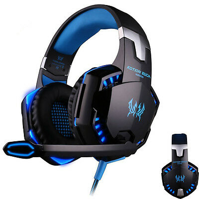 3.5mm Stereo Headphones Gaming Headset Game Headphone LED with Mic for PC Laptop