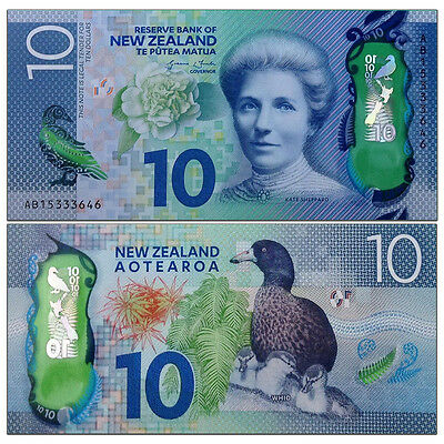 New Zealand 10 Dollars, 2015/2016, P-192 New, Polymer, UNC New Design
