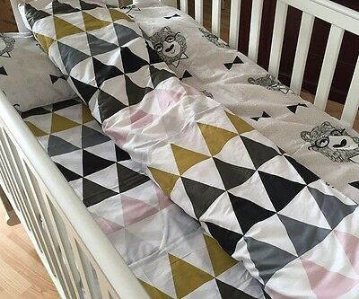 3pcs cotton nursery baby crib cot bedding set bed sheet,quilt cover,pillow case