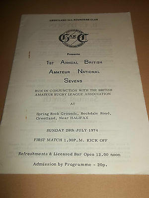 1St Annual British Amateur National Sevens ~ Rugby League Programme 1974 Exc.