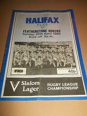 Halifax V Featherstone Rovers ~ Original Rugby League Programme 1986
