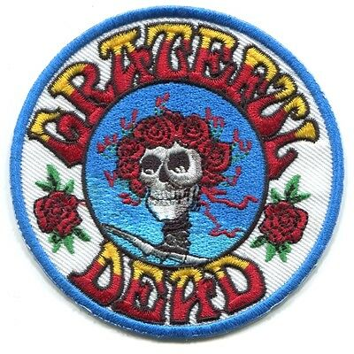 GRATEFUL DEAD skull & roses (round) EMBROIDERED IRON-ON PATCH **FREE SHIPPING**