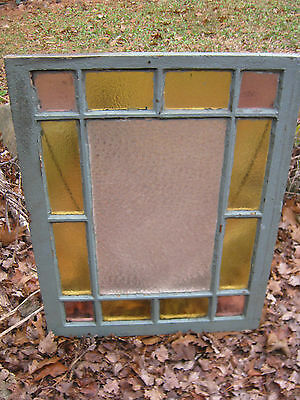 #7 Antique Primitive Garden Country Home Stained Glass Daisy Button Frame Window
