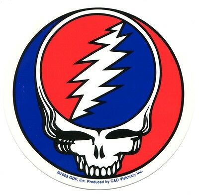"""GRATEFUL DEAD steal your face 5"""" STICKER (Transparent Backing) **FREE SHIPPING**"""