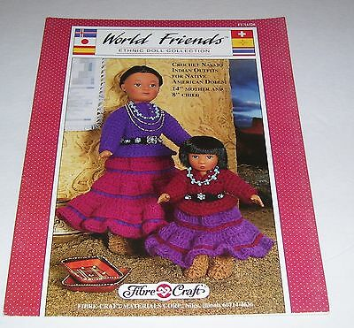 "Fibre Craft 1989 Native Navajo 14"" & 8"" Ethnic Doll Crochet Pattern Oop Fcm328"