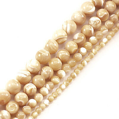 "Beige Natural Mother Of Pearl Round Beads 15"" 4,6,8,10mm, pick your size"