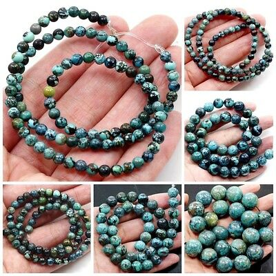 "Natural Gemstone Genuine Turquoise Round Spacer Loose Beads 15"" 3-20mm Free Ship"