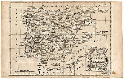 Antique Map-SPAIN-PORTUGAL-IBERIAN PENINSULA-Gibson-De Vaugondy-1750