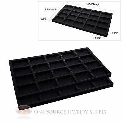 2 Black Tray Insert Liners 20 Compartment Drawer Organizer Jewelry Displays
