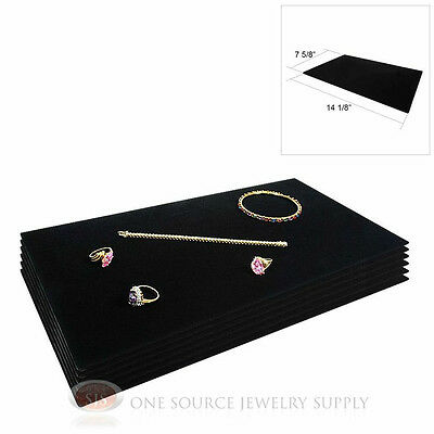 (6) Black Plush Soft Velvet Jewelry Display Counter Display Pads Tray Liners