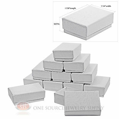 """12 White Swirl Cardboard Cotton Filled Jewelry Gift Boxes 1 7/8"""" X 1 1/4"""" X 5/8"""""""