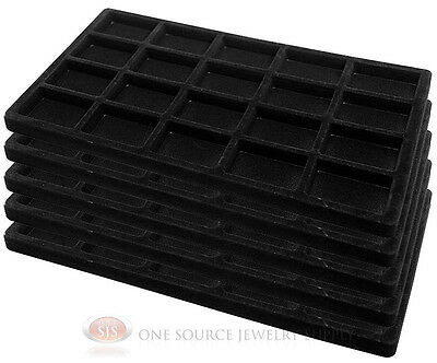 5 Black Insert Tray Liners W/ 20 Compartments Drawer Organizer Jewelry Displays