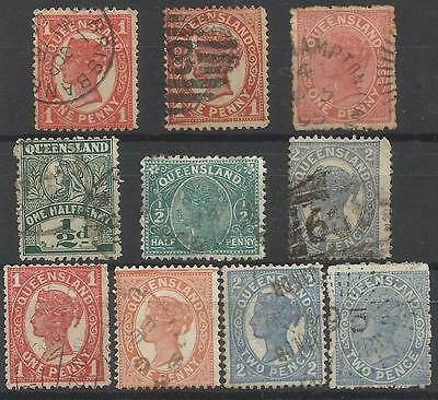 QUEENSLAND Collection Packet of 10 Different COLONIES STATES Stamps Used